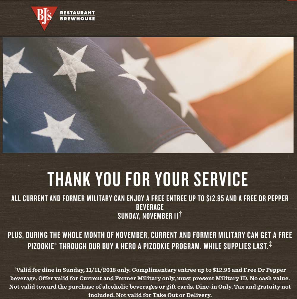 BJs Restaurant Coupon May 2019 Military ID = $13 meal free Sunday at BJs Restaurant