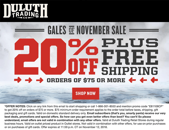 Duluth Trading Co Coupon July 2019 20% off $75 online at Duluth Trading Co via promo code E81108CP