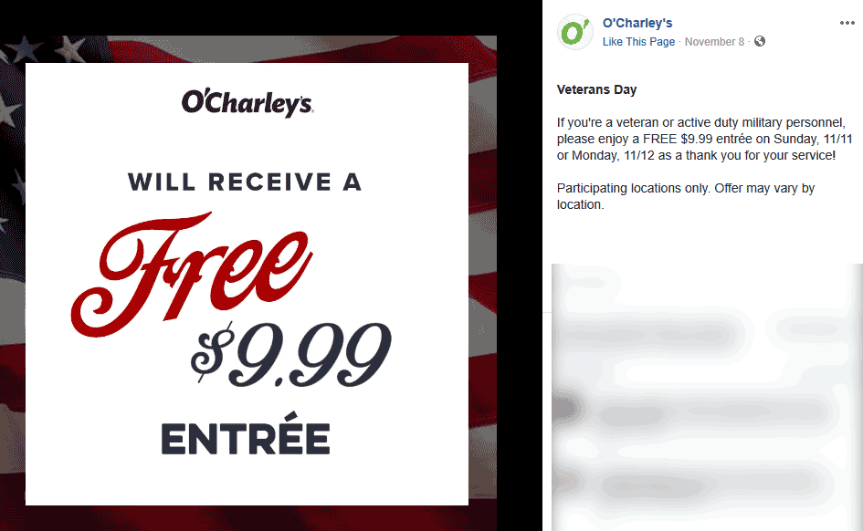 OCharleys Coupon November 2019 Veterans enjoy a free $10 entree Sun & Mon at OCharleys