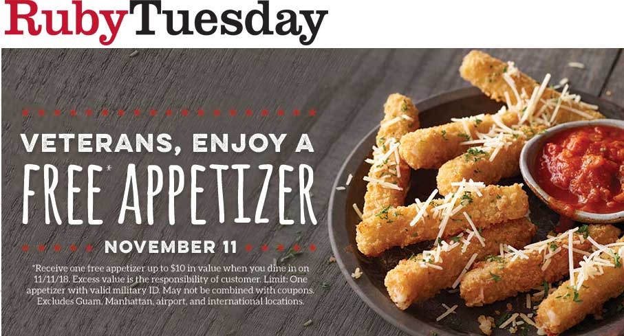 Ruby Tuesday Coupon July 2019 Veterans enjoy a free $11 appetizer Sunday at Ruby Tuesday