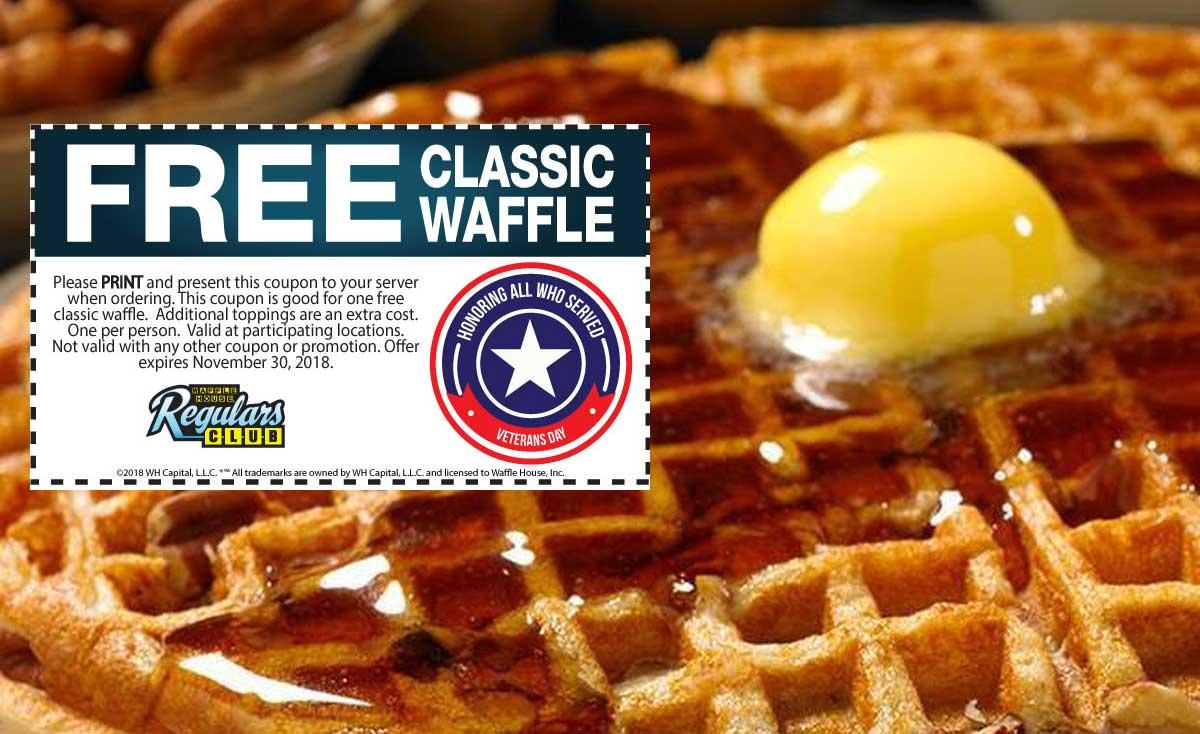 WaffleHouse.com Promo Coupon Free waffle at Waffle House