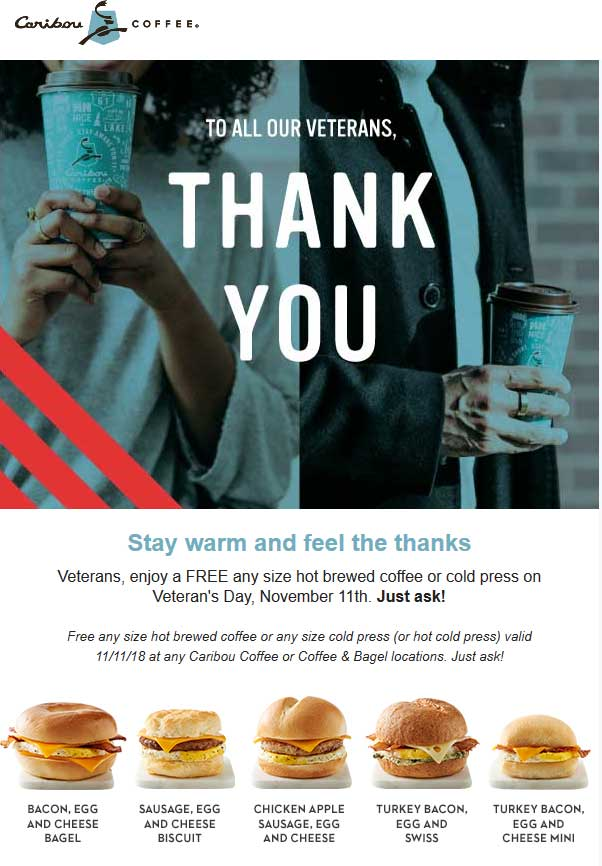 CaribouCoffee.com Promo Coupon Veterans get a free coffee today at Caribou Coffee