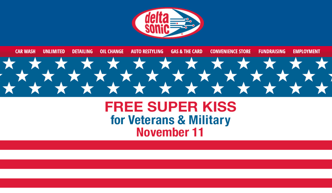 Delta Sonic Coupon January 2020 Veterans get a free super kiss today at Delta Sonic car wash