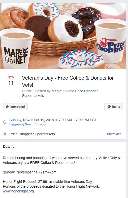 Price Chopper Coupon January 2020 Vets get free coffee & donuts at Price Chopper & Market 32 supermarkets
