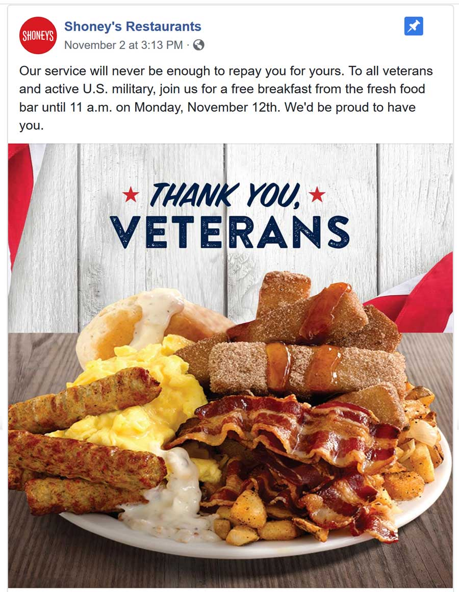 Shoneys Coupon April 2019 Veterans enjoy a free breakfast Monday at Shoneys