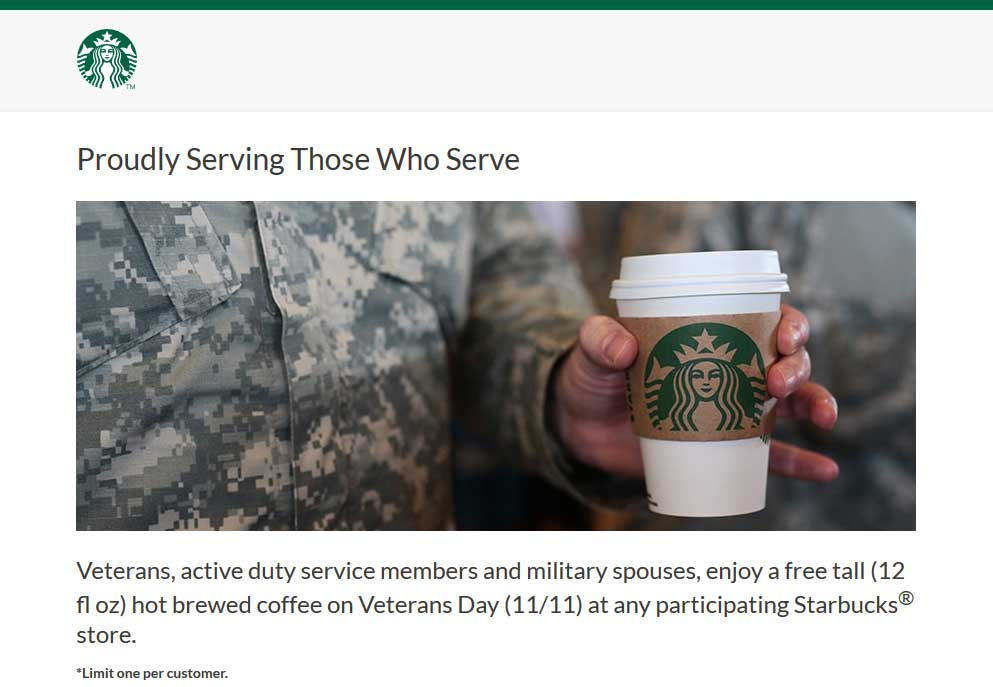 Starbucks Coupon November 2019 Military & spouses enjoy a free tall coffee today at Starbucks