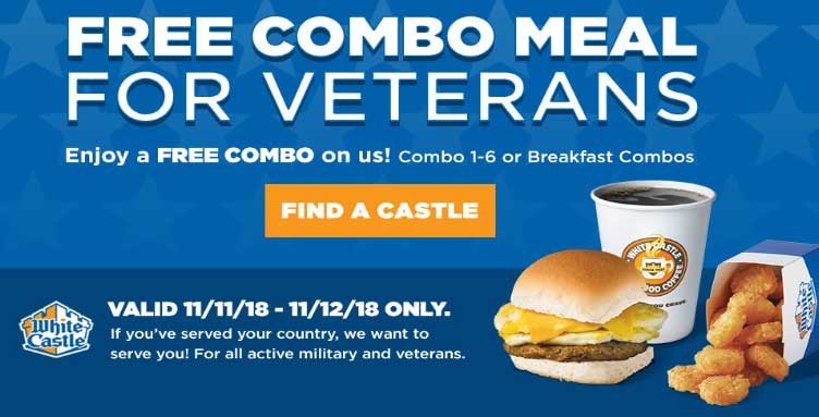 White Castle Coupon October 2019 Free combo meal for veterans at White Castle