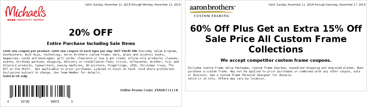 Michaels Coupon November 2019 20% off today at Michaels, or online via promo code 2SAVE111118