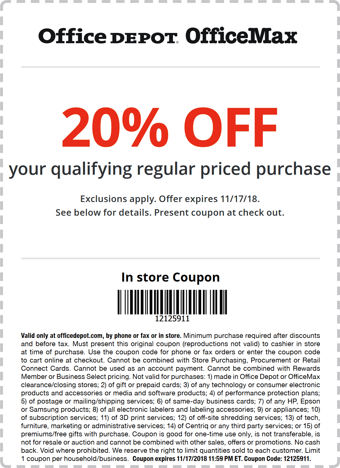 Office Depot Coupon October 2019 20% off at Office Depot & OfficeMax, or online via promo code 12125911
