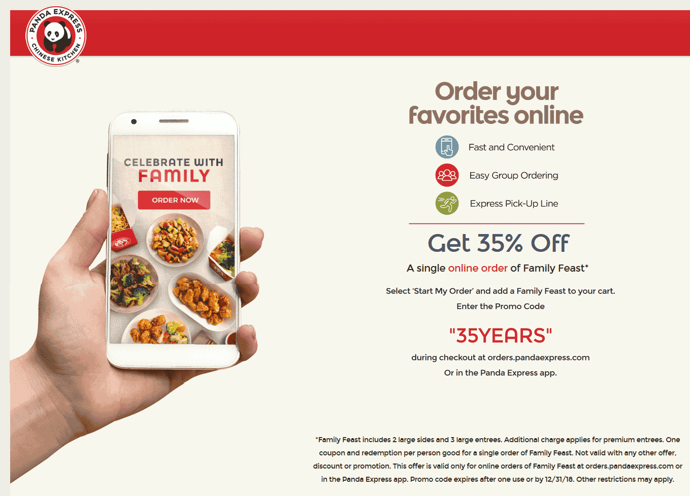 Panda Express Coupon January 2020 35% off a family feast at Panda Express via promo code 35YEARS