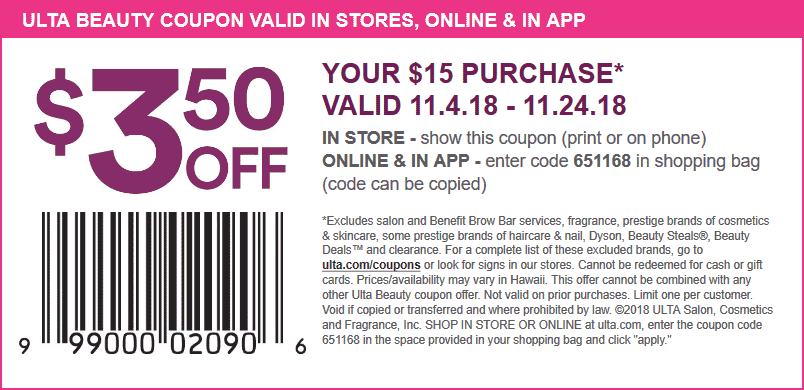 Ulta Beauty Coupon October 2019 $3.50 off $15 at Ulta Beauty, or online via promo code 651168