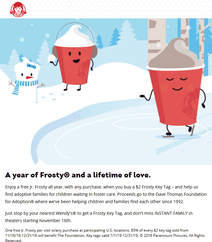 Wendys Coupon July 2019 $2 key tag = free frosty all year at Wendys restaurants