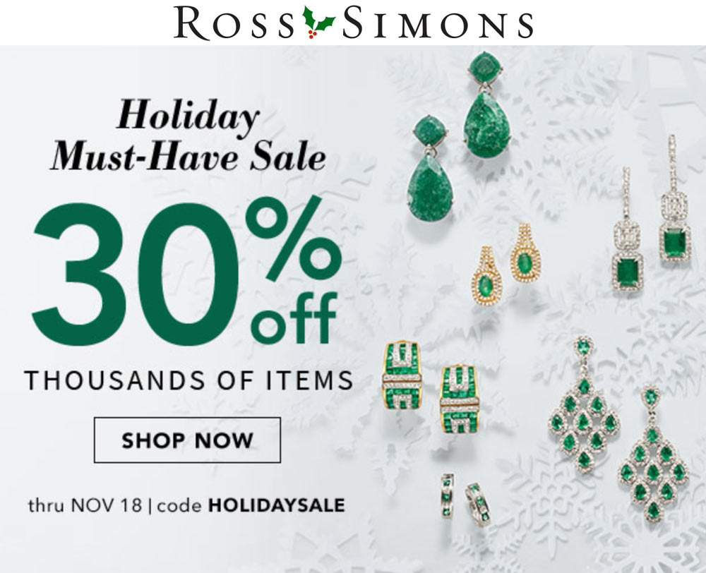 Ross Simons Coupon September 2019 30% off at Ross Simons via promo code HOLIDAYSALE
