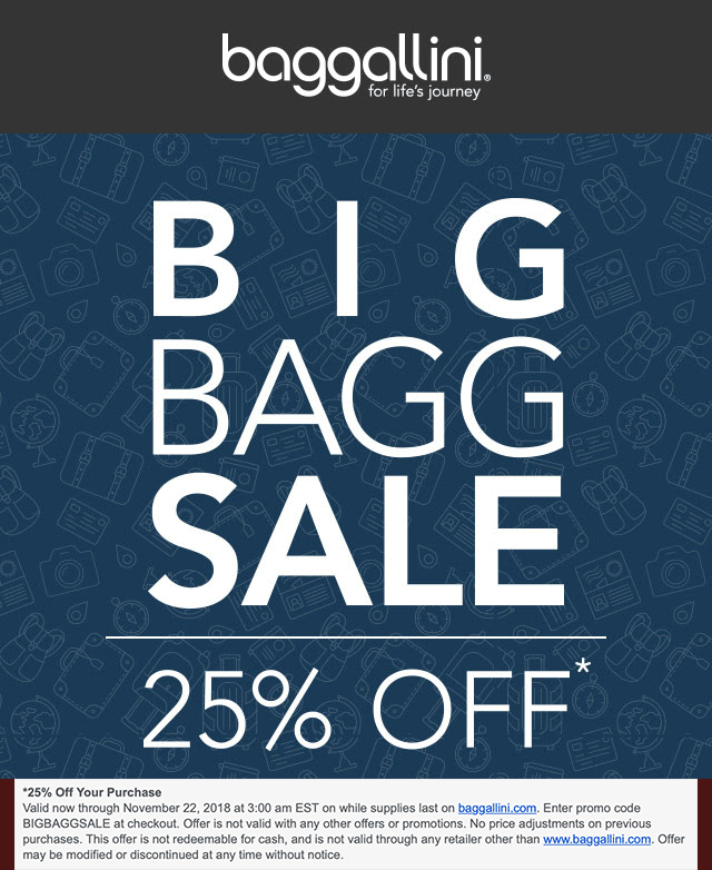 Baggallini Coupon May 2019 25% off online at Baggallini via promo code BIGBAGGSALE