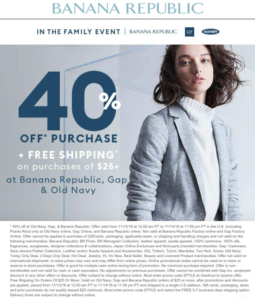 Old Navy Coupon November 2019 40% off online today at Gap, Old Navy & Banana Republic via promo code STYLE