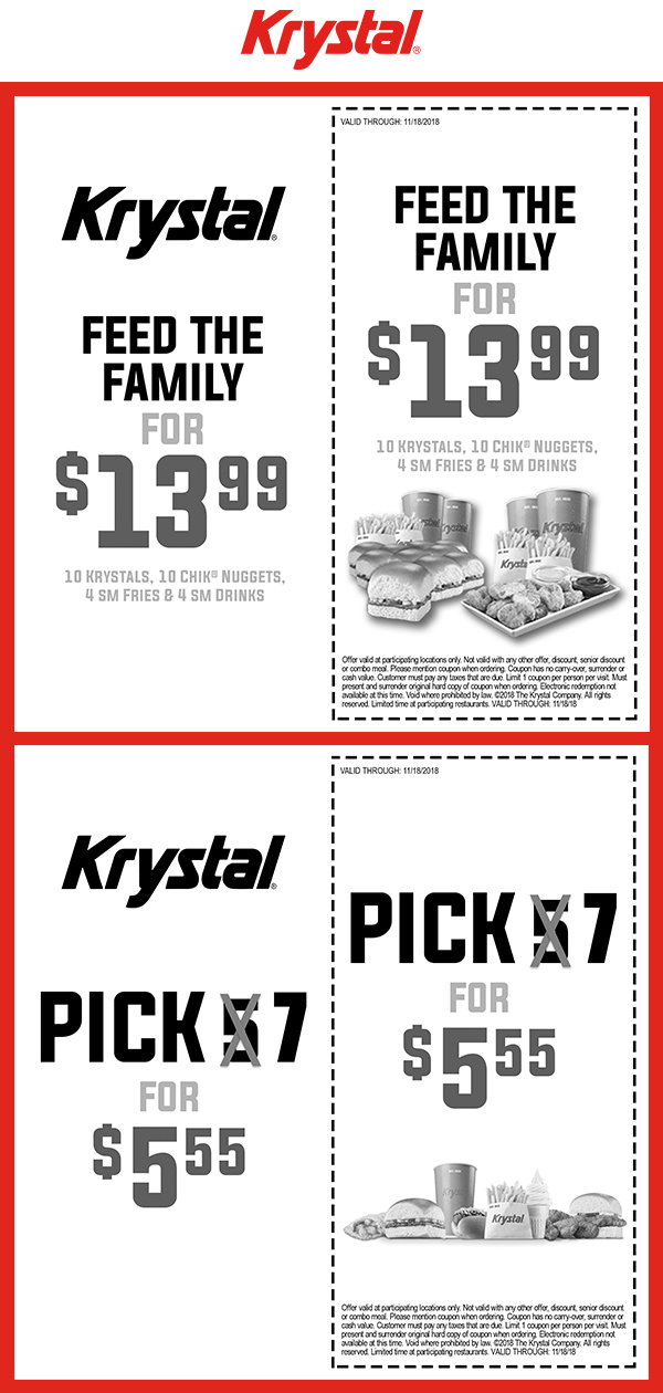 Krystal Coupon May 2019 Pick 7 items for $5.55 at Krystal restaurants