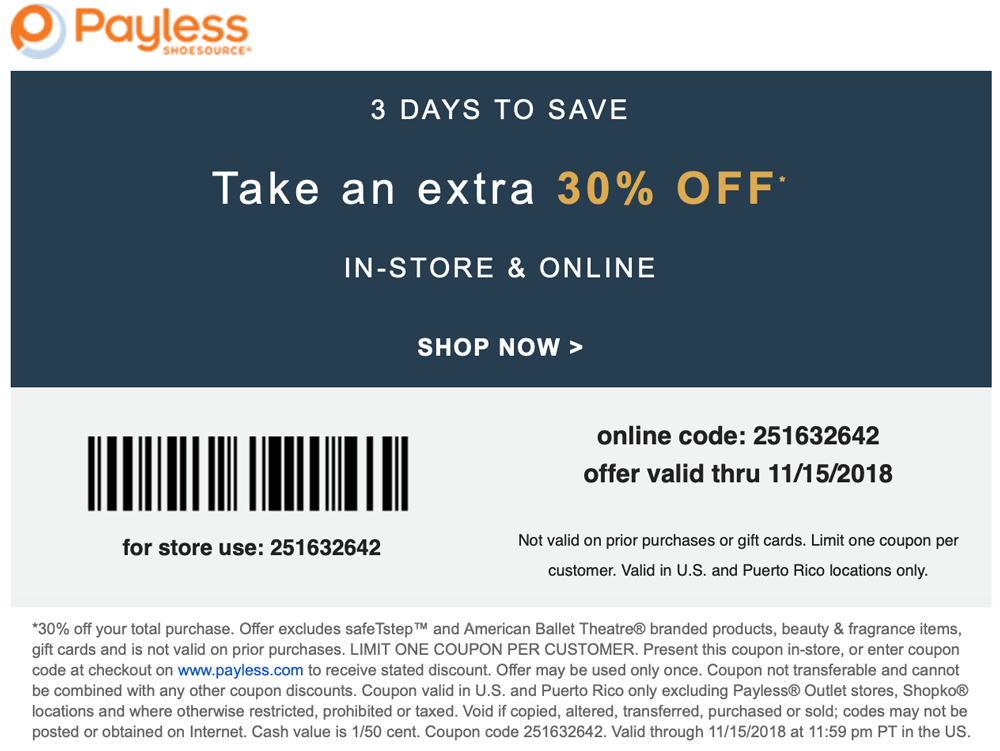 Payless Shoesource Coupon November 2019 Extra 30% off at Payless Shoesource, or online via promo code 251632642