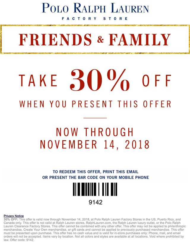 Polo Ralph Lauren Factory Coupon January 2020 30% off today at Polo Ralph Lauren Factory