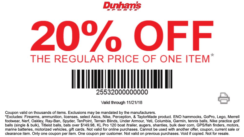 Dunhams Sports Coupon September 2019 20% off a single item at Dunhams Sports