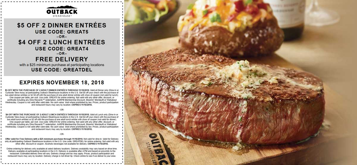 Outback Steakhouse Coupon January 2020 $4-$5 off a couple entrees at Outback Steakhouse