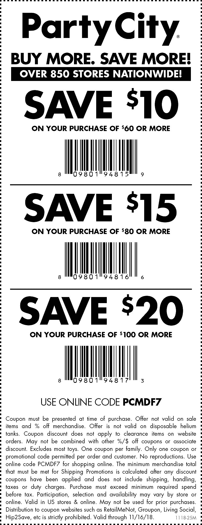 Party City Coupon May 2019 $10 off $60 & more at Party City, or online via promo code PCMDF7