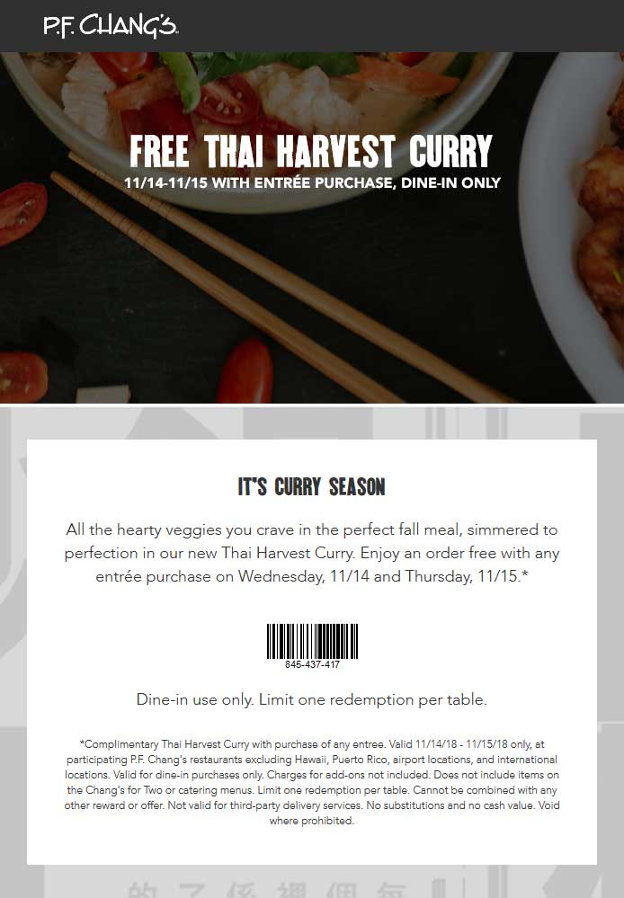 P.F. Changs Coupon January 2020 Free Thai harvest with your entree today at P.F. Changs