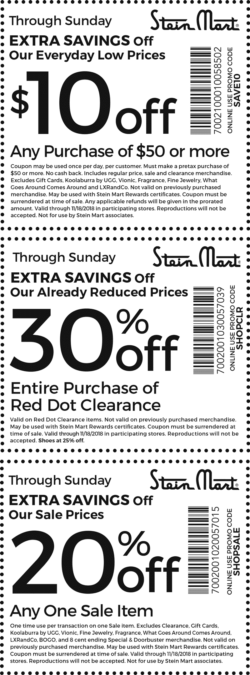 Stein Mart Coupon November 2019 $10 off $50 & more at Stein Mart, or online via promo code SAVE10