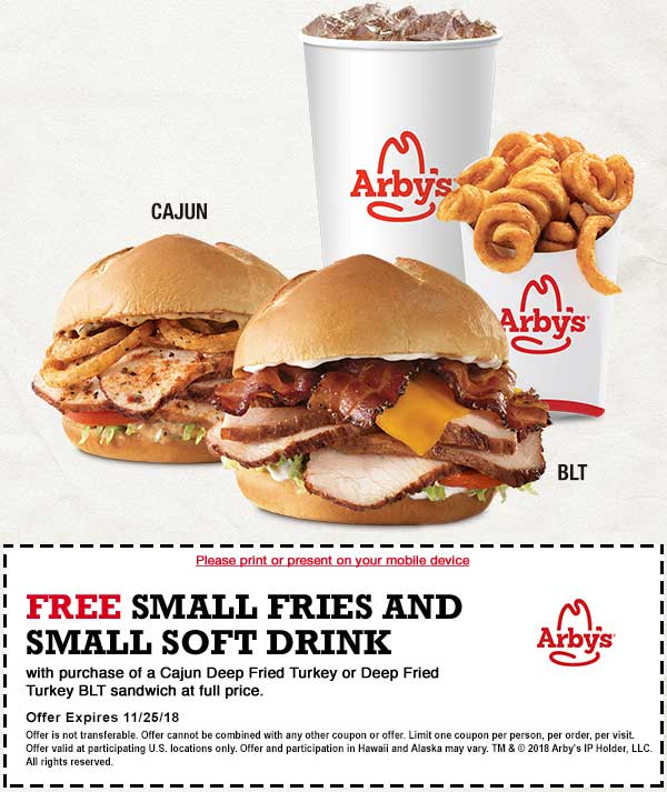 Arbys Coupon September 2019 Free fries & drink with your turkey sandwich at Arbys