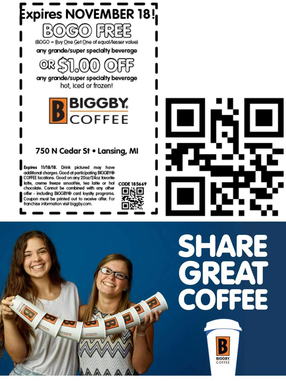 Biggby Coffee Coupon May 2019 Second coffee free at Biggby Coffee