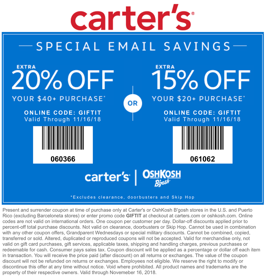 Carters Coupon January 2020 15-20% off today at Carters & OshKosh Bgosh, or online via promo code GIFTIT