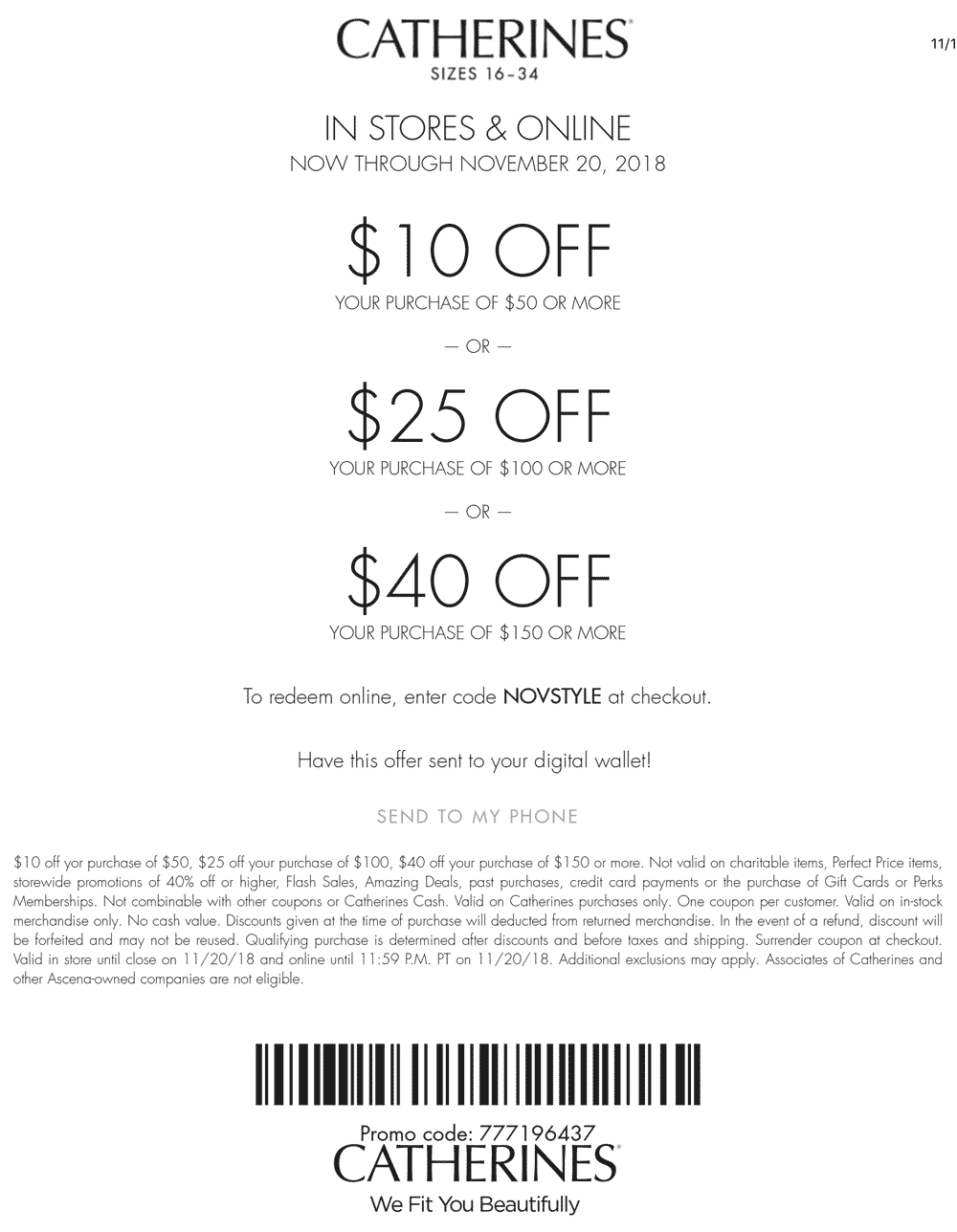 Catherines Coupon July 2019 $10 off $50 & more at Catherines, or online via promo code NOVSTYLE