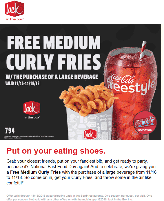 Jack in the Box Coupon May 2019 Free curly fries with your drink at Jack in the Box