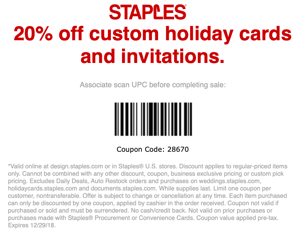Staples Coupon October 2019 20% off holiday cards & invitations at Staples, or online via promo code 28670