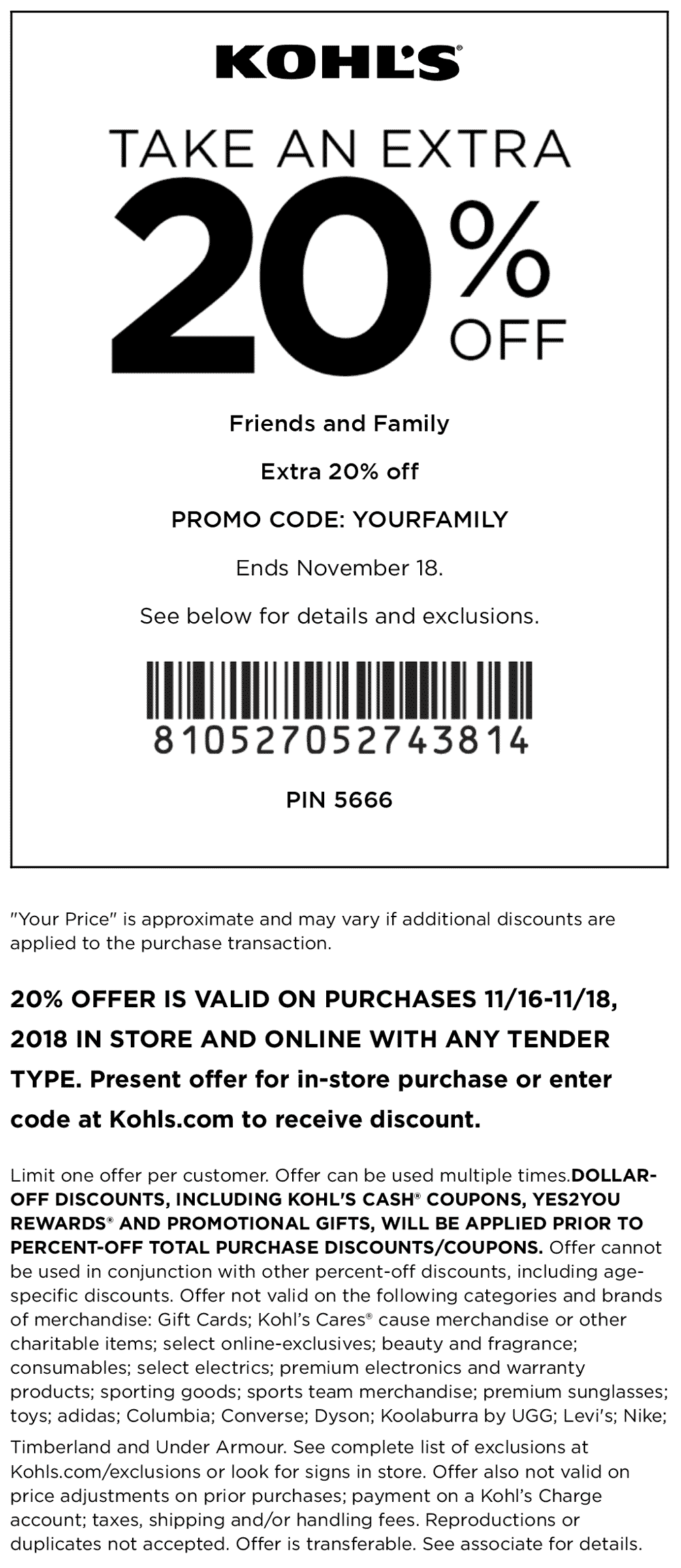 Kohls Coupon June 2019 20% off at Kohls, or online via promo code YOURFAMILY