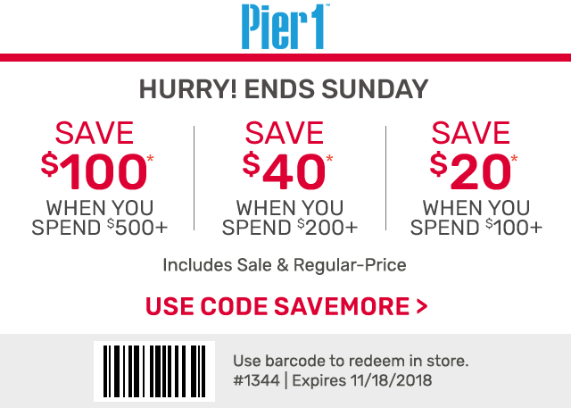 Pier 1 Coupon June 2019 $20 off $100 & more at Pier 1, or online via promo code SAVEMORE