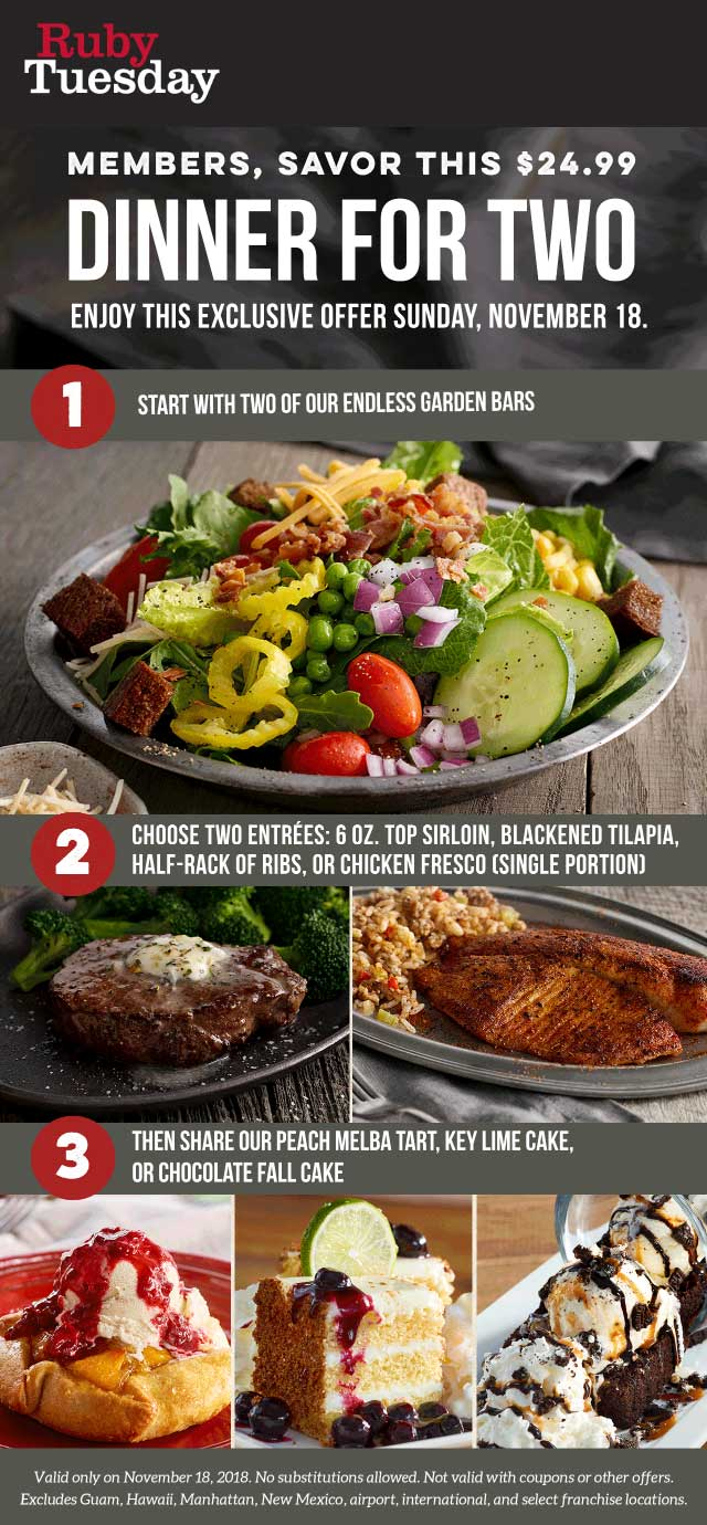 RubyTuesday.com Promo Coupon 2 salad bars + 2 steak entrees + dessert = $25 Sunday at Ruby Tuesday