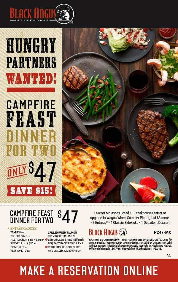BlackAngus.com Promo Coupon Appetizer + 2 entrees + 4 sides + dessert & bread = $47 at Black Angus steakhouse