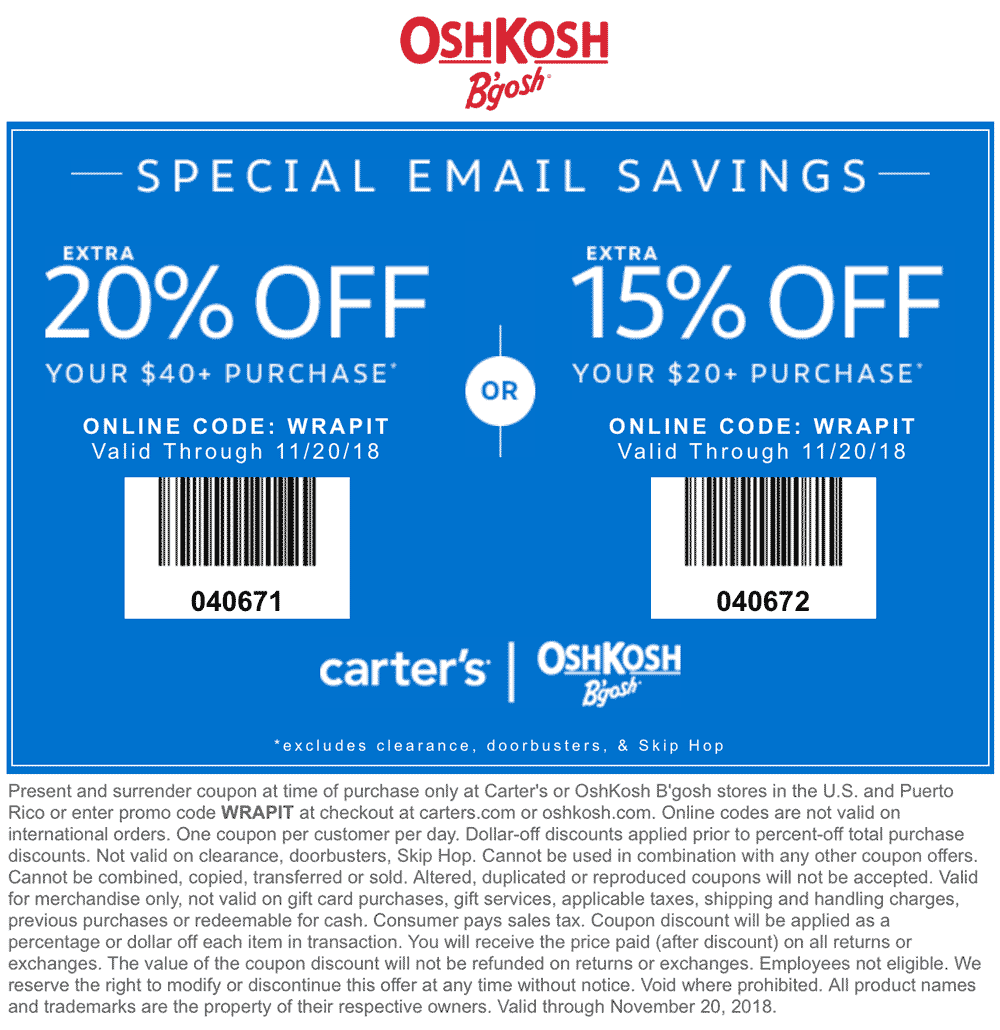 Carters Coupon May 2019 15-20% off at Carters & OshKosh Bgosh, or online via promo code WRAPIT