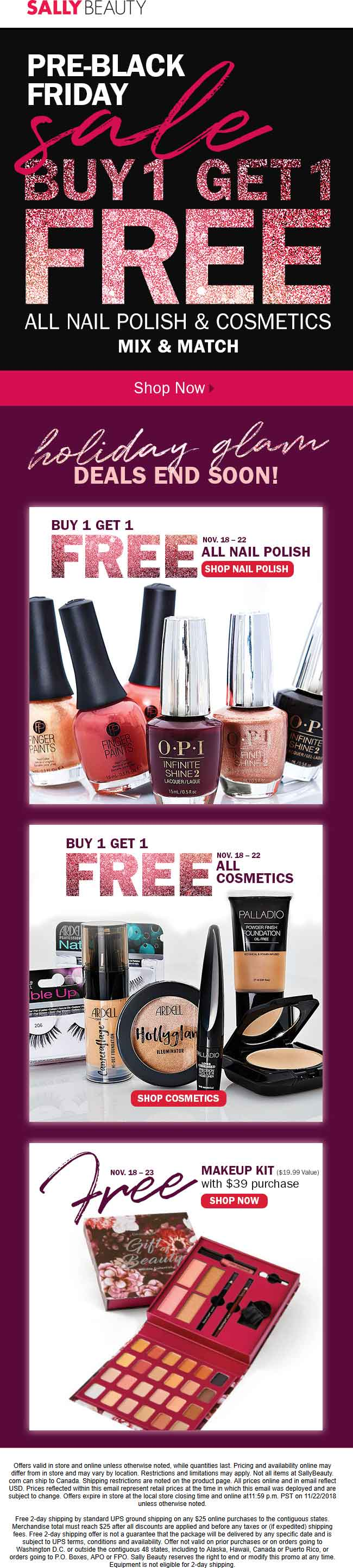 Sally Beauty Coupon July 2019 Second cosmetic or nail polish free at Sally Beauty, ditto online
