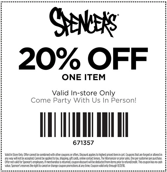 Spencers Coupon November 2019 20% off a single item at Spencers