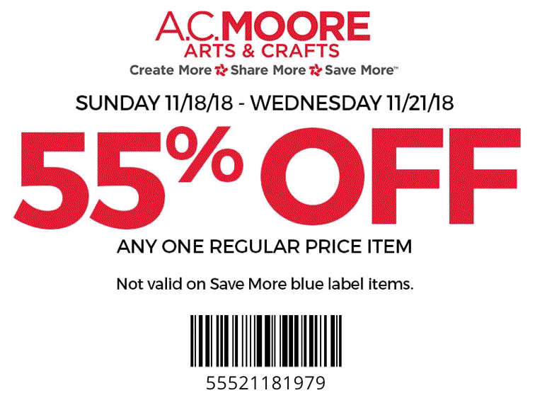 A.C. Moore Coupon October 2019 55% off a single item at A.C. Moore crafts