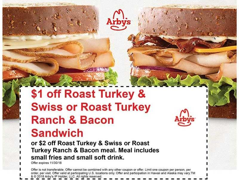 Arbys Coupon October 2019 $2 off a turkey meal at Arbys
