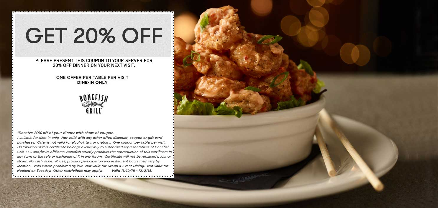 Bonefish Grill Coupon May 2019 20% off at Bonefish Grill restaurants