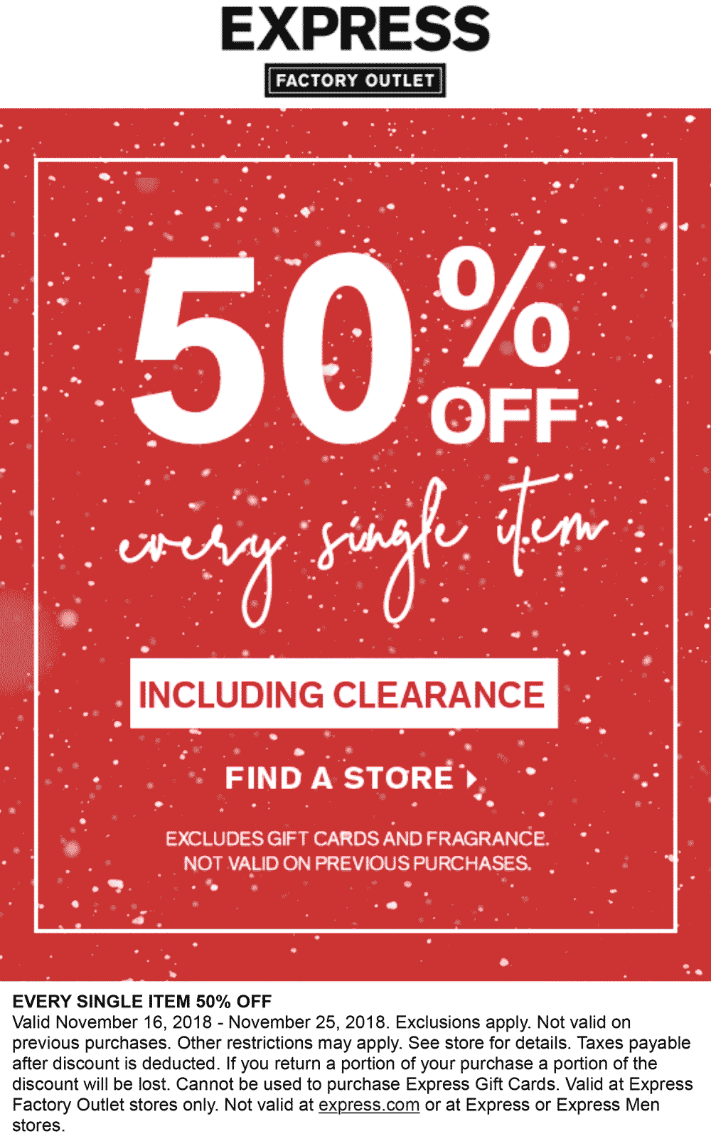 Express Factory Outlet Coupon September 2019 50% off everything at Express Factory Outlet
