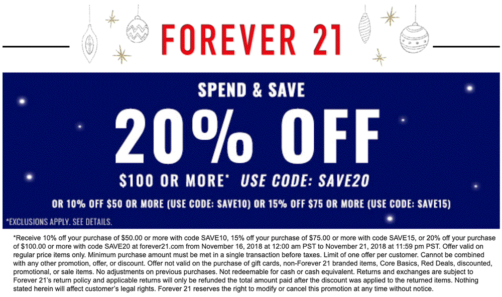 Forever 21 Coupon November 2019 20% off $100 at Forever 21 via promo code SAVE20