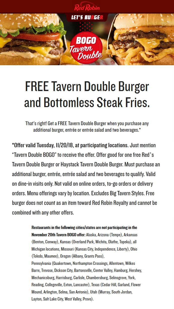 Red Robin Coupon December 2019 Second double cheeseburger + bottomless fries free today at Red Robin