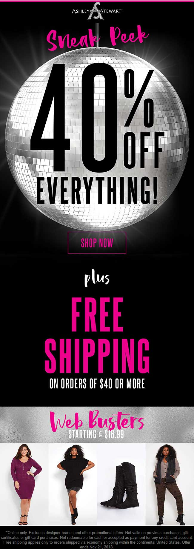 Ashley Stewart Coupon October 2019 40% off everything online at Ashley Stewart