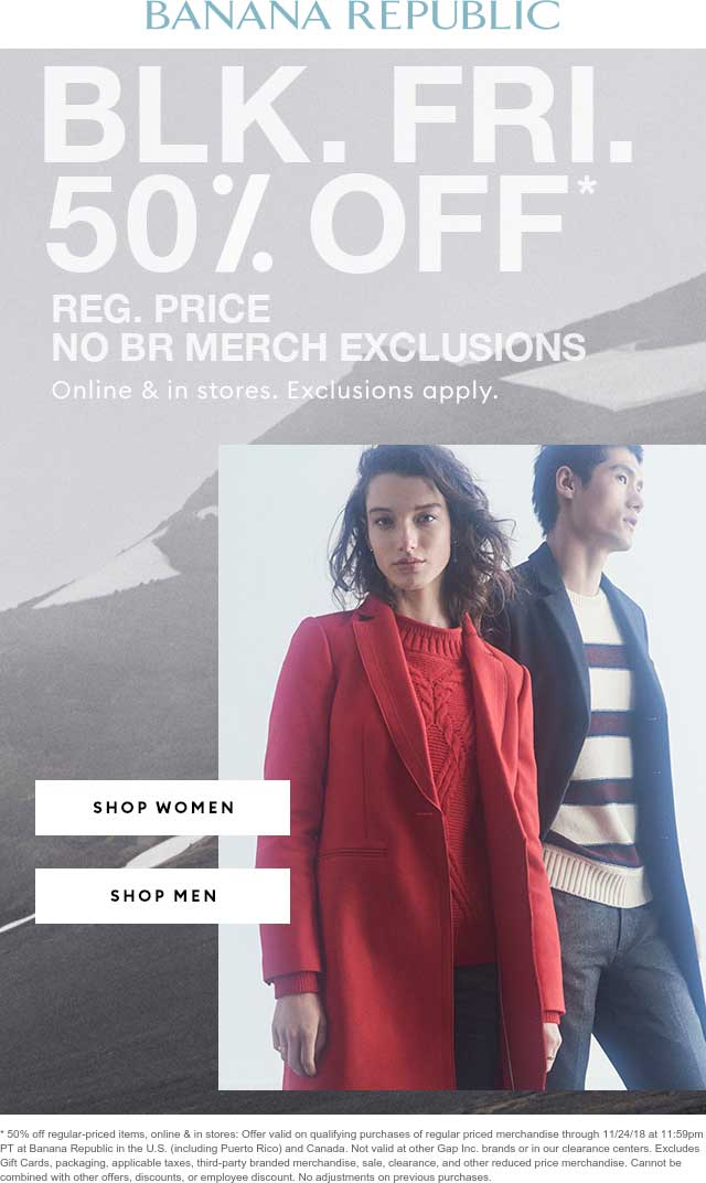 Banana Republic Coupon July 2019 50% off at Banana Republic, ditto online