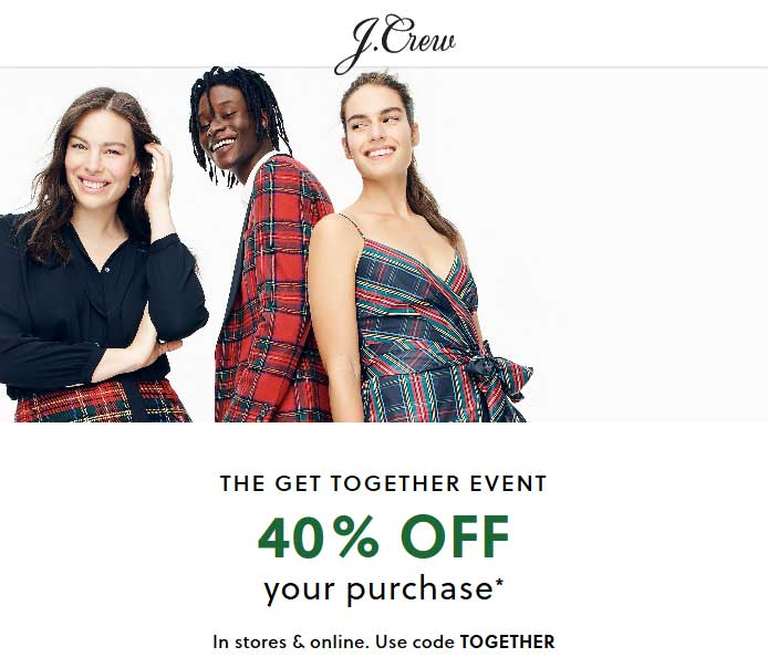 J.Crew Coupon November 2019 40% off at J.Crew, or online via promo code TOGETHER