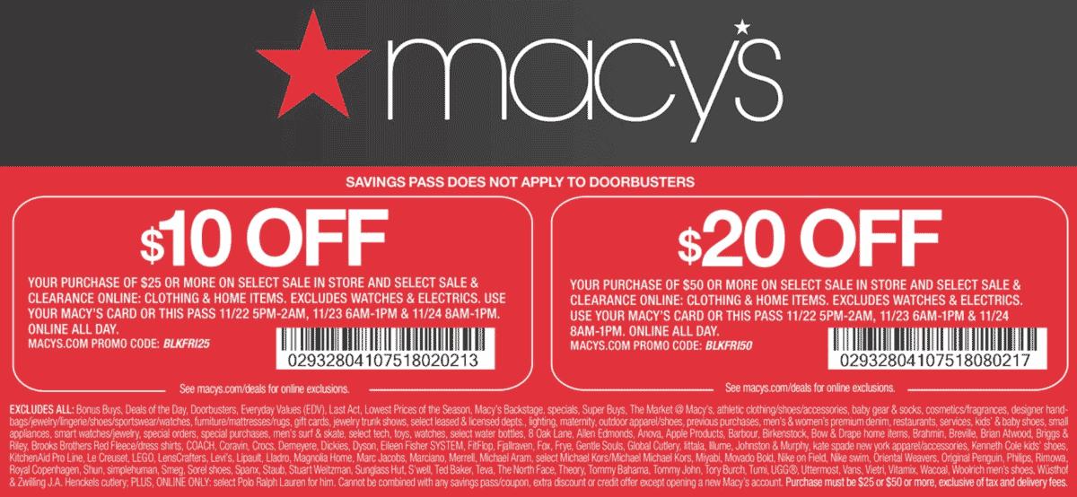 Macys Coupon November 2019 $10 off $25 & more at Macys, or online via promo code BLKFRI25